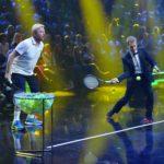 Becker gegen Pocher - Boris Becker und Oliver Pocher beim Spiel Bum-Bum-Bälle