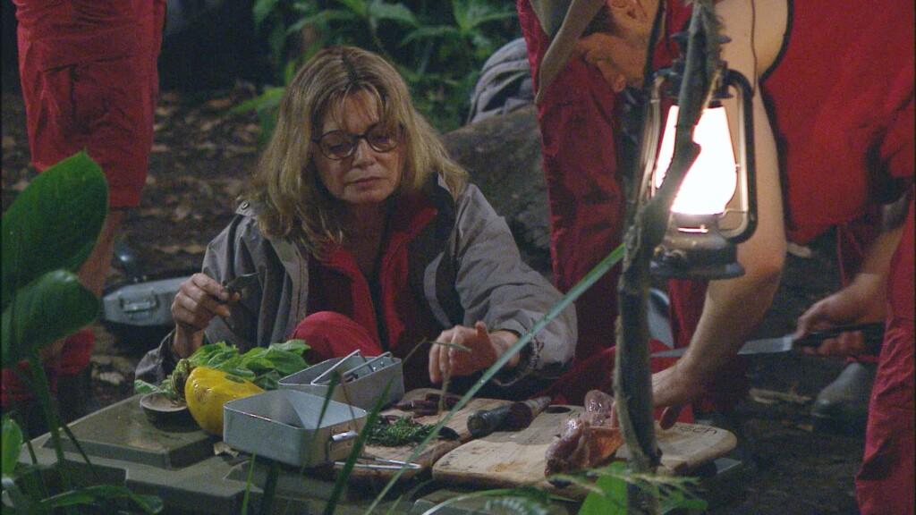 Maren Gilzer und Jörn Schlönvoigt versuchen aus den angelieferten Zutaten ein leckeres Abendessen zu kochen.