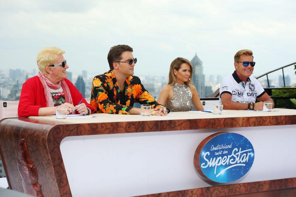 Die Jury, bestehend aus (v.l.) Heino, DJ Antoine, Mandy Capristo und Dieter Bohlen