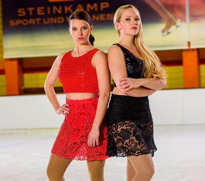 Attraktive Konkurrentinnen auf dem Eis: Franziska Benz (spielt Michelle, l.) und Judith Neumann (spielt Marie).
