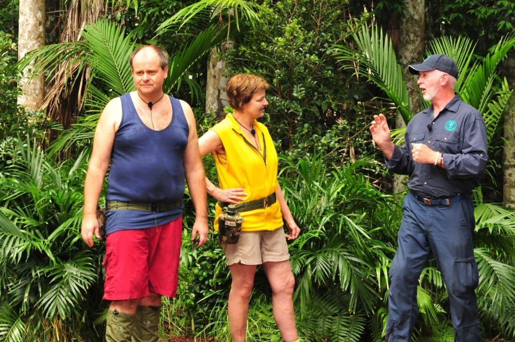 Im Dschungel ist für Markus Majowski (l.) und Fräulein Menke ein ganz besonderes Sechs-Gänge-Buffet aufgebaut.