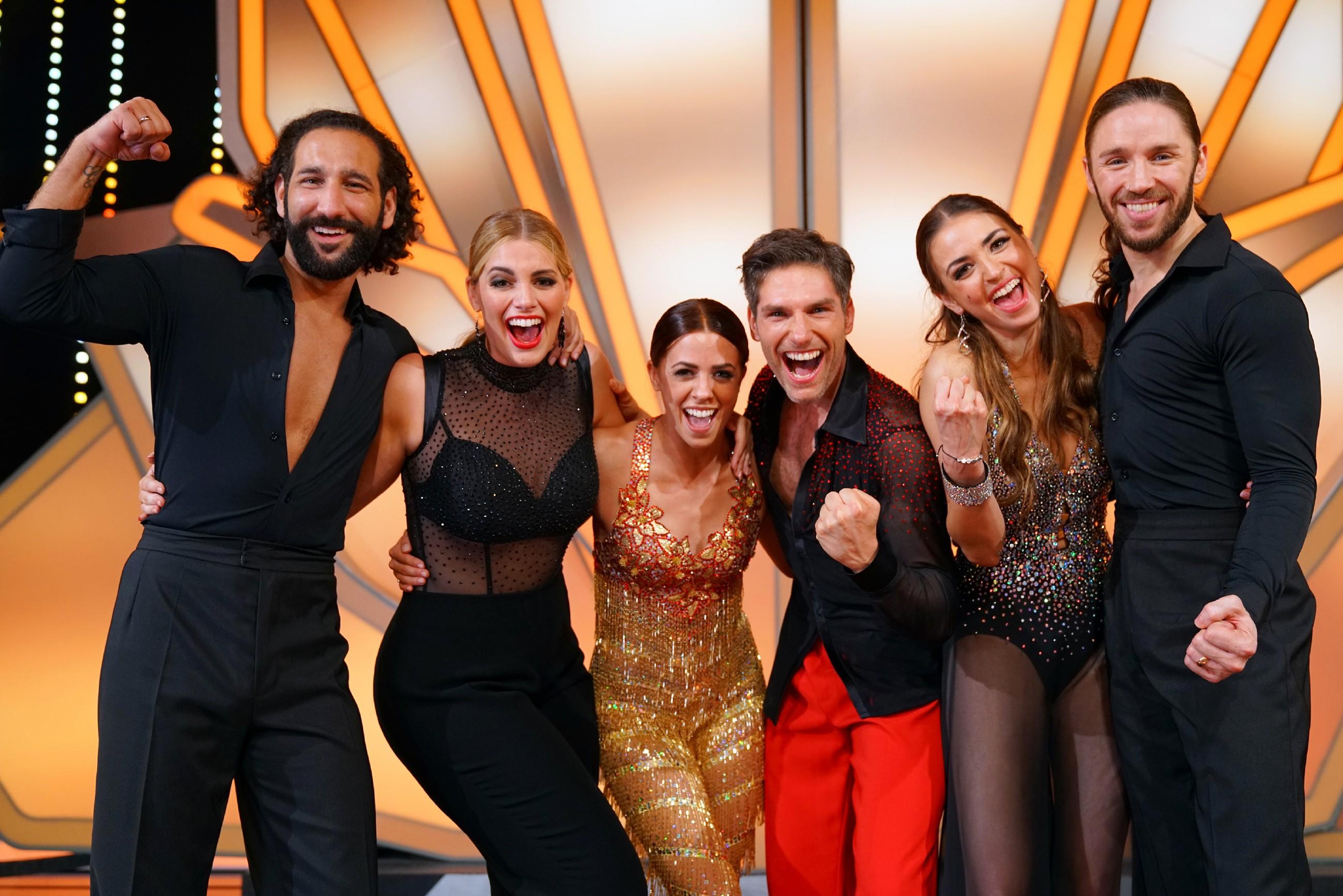 Diese drei Paare stehen im Finale, v.l.: Massimo Sinató und Angelina Kirsch, Vanessa Mai und Christian Polanc sowie Ekaterina Leonova mit Gil Ofarim