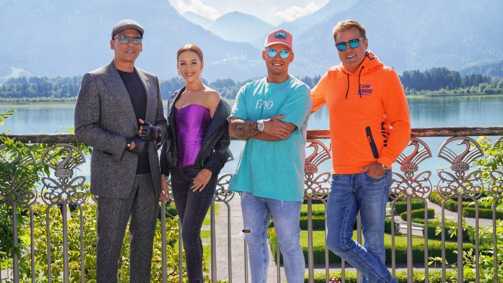 """Die """"Deutschland sucht den Superstar""""-Jury Xavier Naidoo, Oana Nechiti, Pietro Lombardi und Chefjuror Dieter Bohlen (v.l.)."""