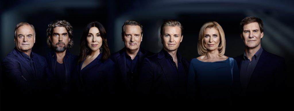 V.l.: Dr. Georg Kofler, Nils Glagau, Judith Williams, Ralf Dümmel, Nico Rosberg, Dagmar Wöhrl und Carsten Maschmeyer