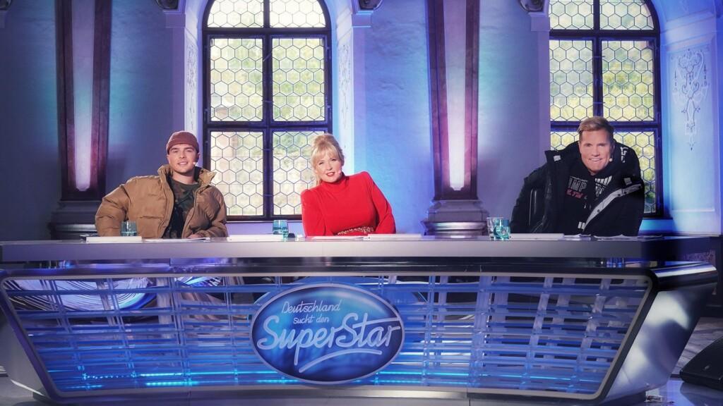 Die Jury (v.l.) Mike Singer, Maite Kelly und Dieter Bohlen.