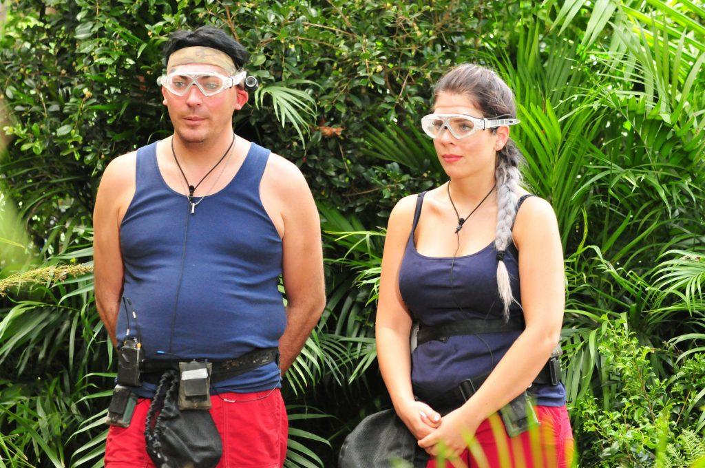 Jenny Frankhauser und Matthias Mangiapane werden am zweiten Dschungeltag zu Wühlmäusen und müssen als Untergrundkämpfer in einem unterirdischen Termiten-Bau zur Prüfung antreten.