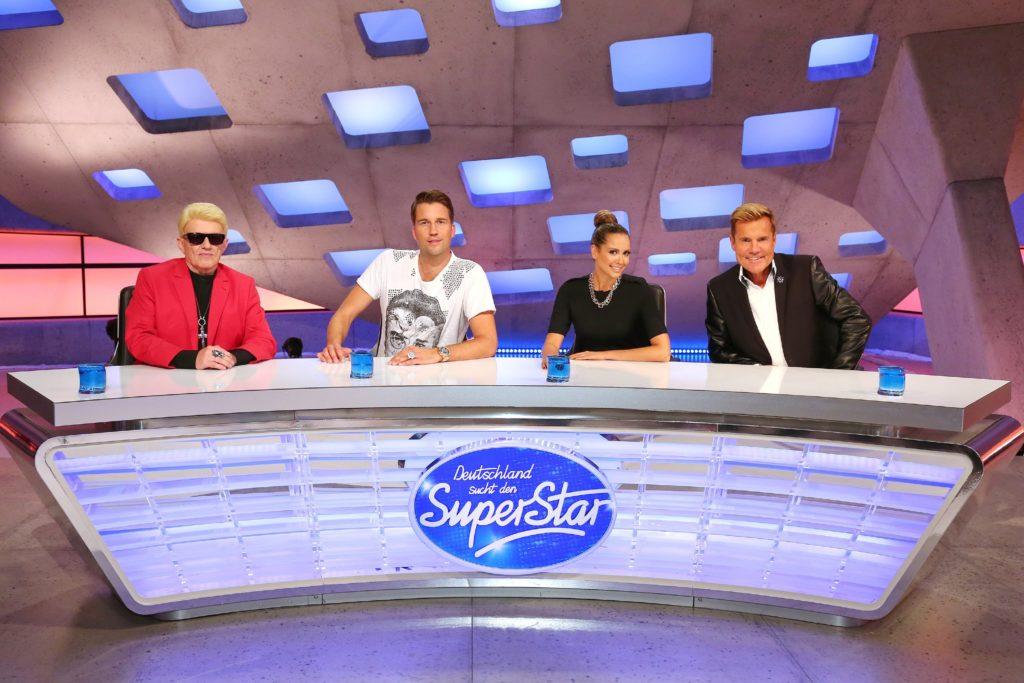 Kultstar Heino, der international erfolgreiche DJ Antoine, Sängerin Mandy Capristo und Erfolgsproduzent Dieter Bohlen (v.l.)