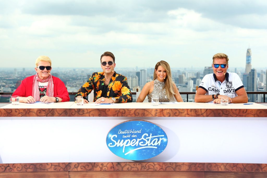 Die DSDS-Jury bestehend aus (v.l.) Heino, DJ Antoine, Mandy Capristo und Dieter Bohlen