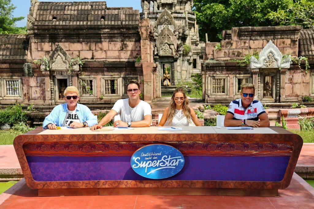 Die Jurymitglieder (v.l.) Heino, DJ Antoine, Mandy Capristo und Dieter Bohlen in Thailand.