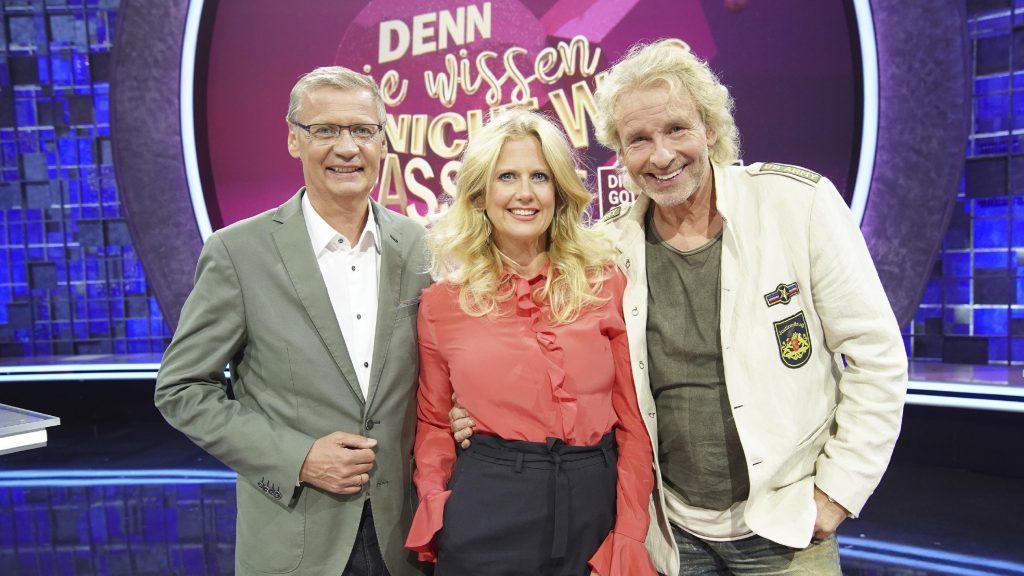 Moderator Günther Jauch (l.), Barbara Schöneberger und Thomas Gottschalk