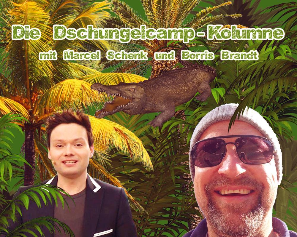 Marcel Schenk präsentiert die Dschungelcamp-Kolumne und Borris Brandt liefert seine Videos dazu