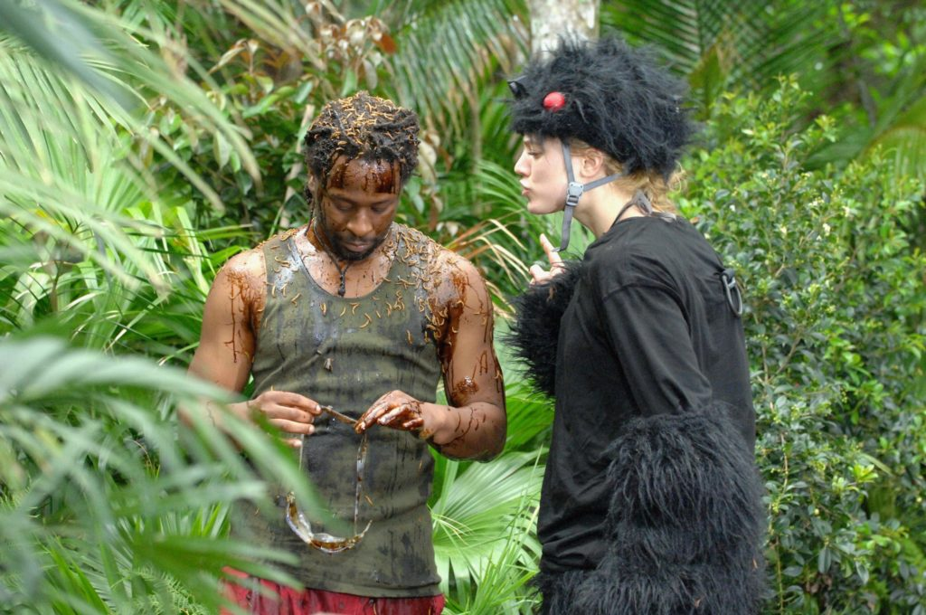 """Tag 8 - Dschungelprüfung 8 """"Spinnen-Schock""""; Mola Adebisi hat die Prüfung mit den Worten """"Ich bin ein Star - Holt mich hier raus!"""" abgebrochen."""