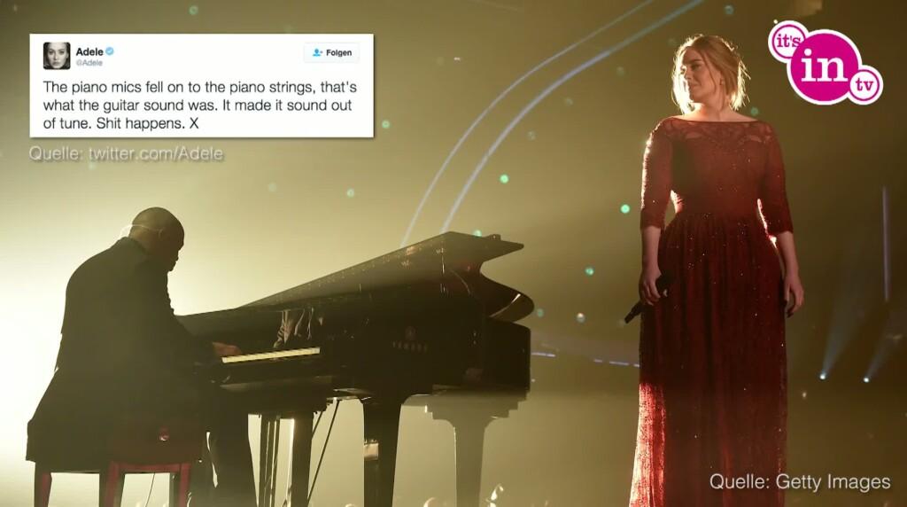 """Bei der gestrigen """"Grammy""""-Verleihung hatte Adele ein kleines Tonproblem."""