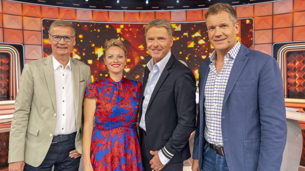 v.l.n.r.: Günther Jauch, Susanne Kunz, Jörg Pilawa, Armin Assinger