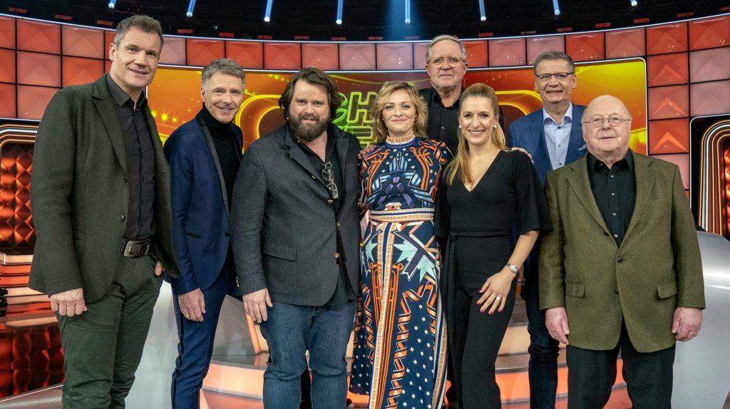 Armin Assinger, Jörg Pilawa, Antoine Monot Jr., Susanne Kunz, Harald Krasnitzer, Stefanie Hertel, Günther Jauch und Norbert Blüm (v.l.n.r.)