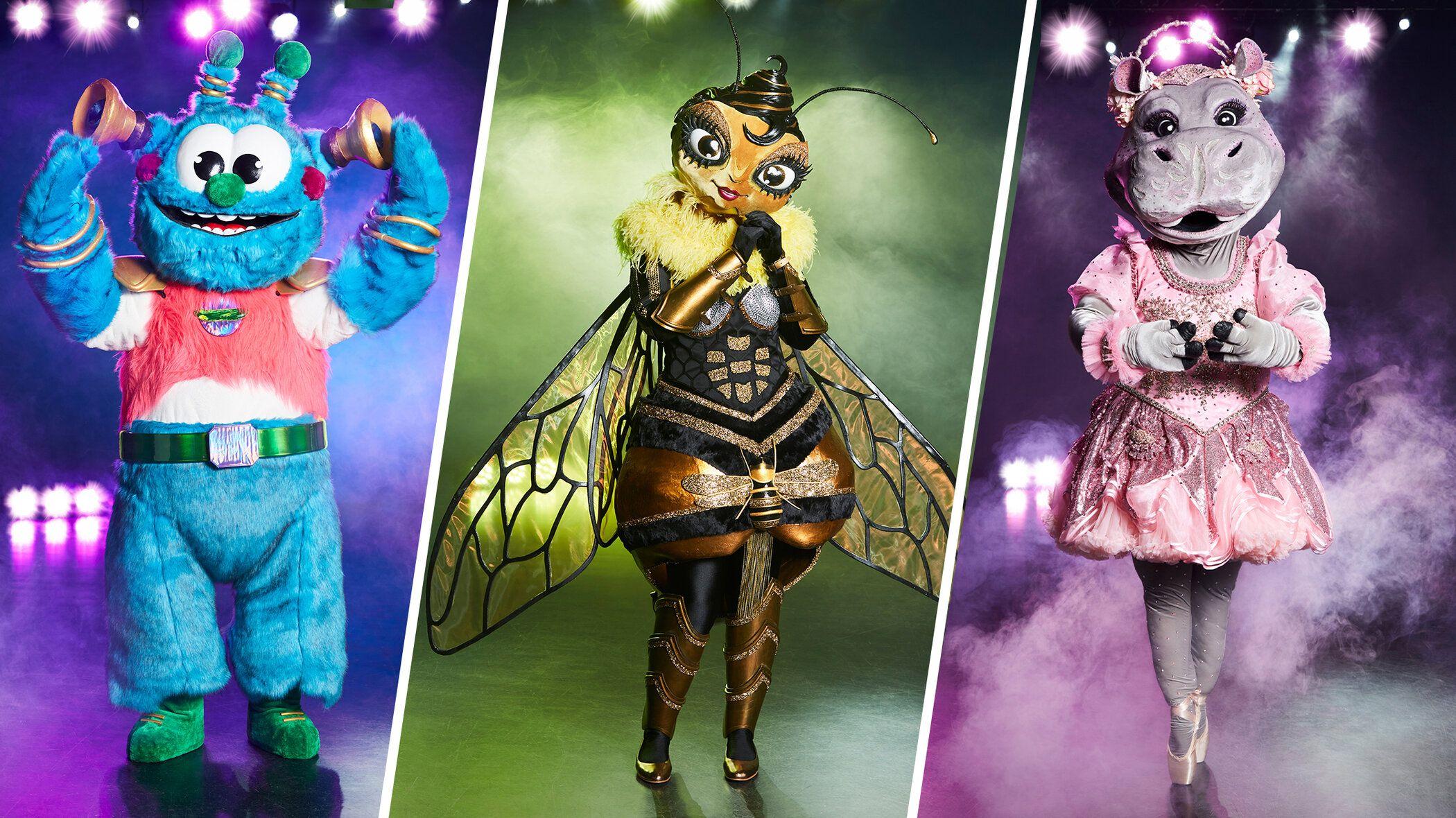 Welche Stars stecken unter (v.l.) dem Alien, der Biene und dem Nilpferd?