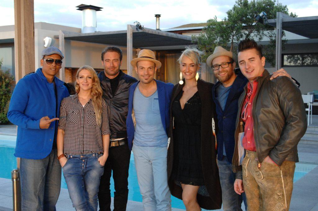 In Südafrika: V.l.: , Sandra Nasic, Sasha, Roger Cicero, Sarah Connor, Gregor Meyle und Andreas Gabalier.