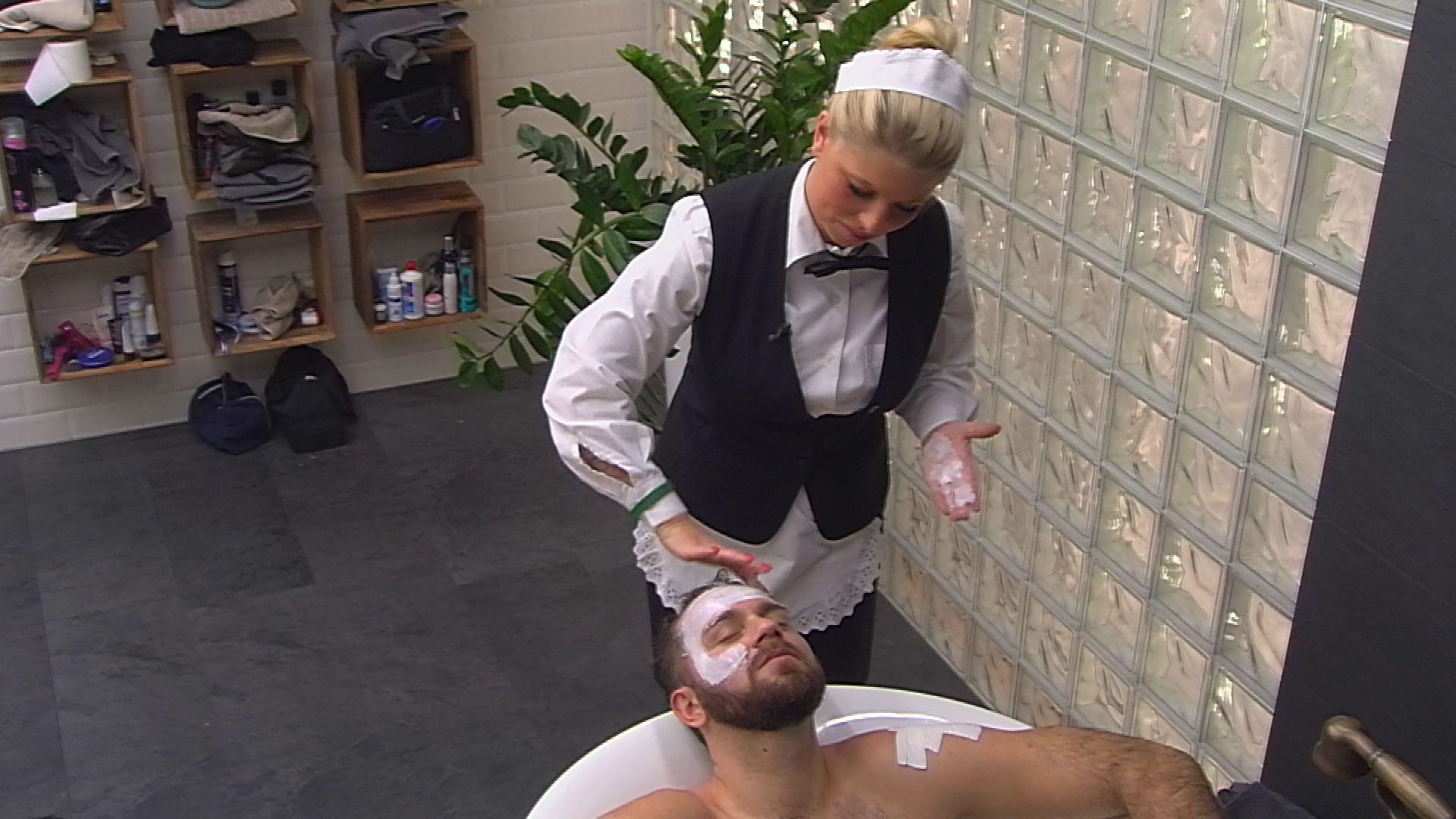 Big Brother Tag 37 - Sharon macht Thomas eine Gesichtsmaske