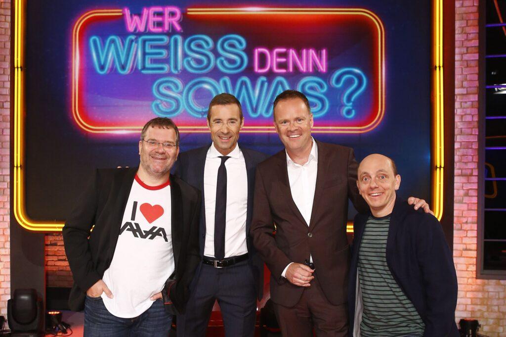 v.l.: Elton, Kai Pflaume, Christian Sievers, Bernhard Hoecker