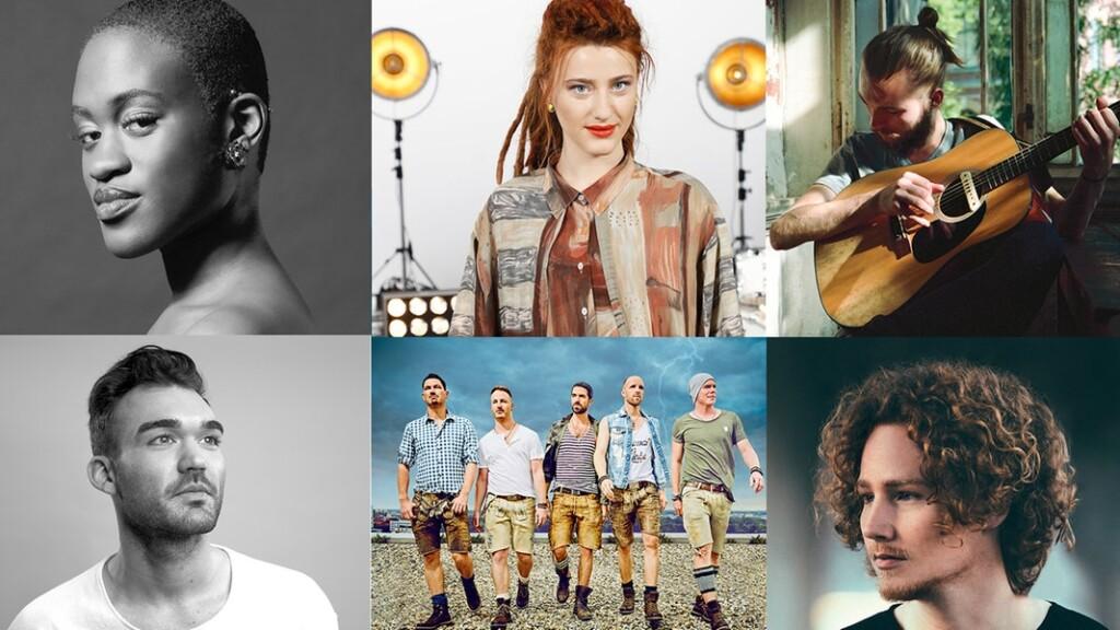"""Xavier Darcy, Ivy Quainoo, Ryk, Michael Schulte, Natia Todua und die Band voXXclub sind die Teilnehmer der Show """"Unser Lied für Lissabon""""."""